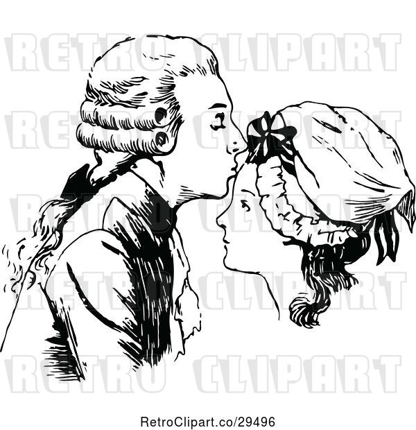 Vector Clip Art of Retro Guy Kissing a Womans Forehead