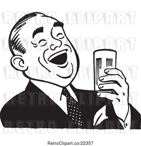 Vector Clip Art of Retro Guy Laughing and Holding a Beer