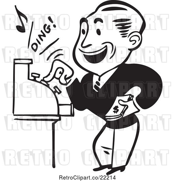 Vector Clip Art of Retro Guy Operating a Cash Register