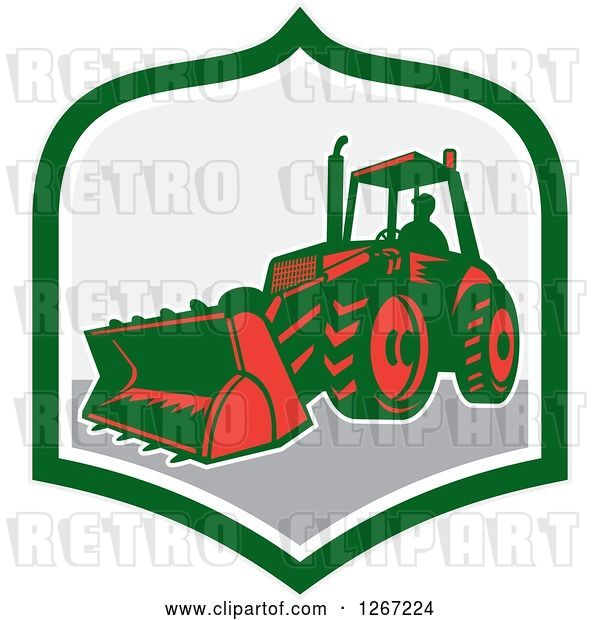 Vector Clip Art of Retro Guy Operating an Excavator Machine in a Green White and Gray Shield