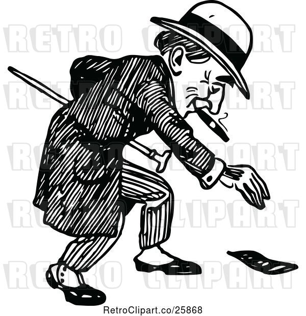Vector Clip Art of Retro Guy Picking up Money