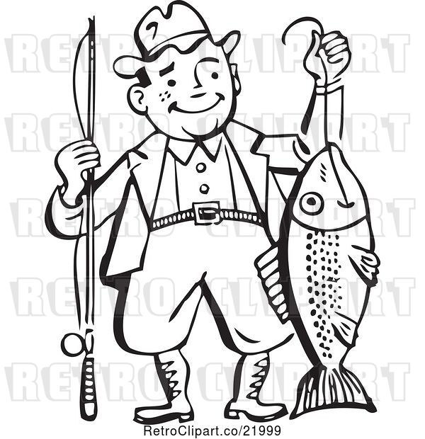 Vector Clip Art of Retro Guy Proudly Holding His Catch