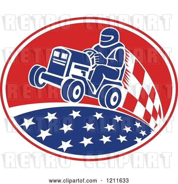Vector Clip Art of Retro Guy Racing a Tractor in an Oval of Stars and Checkers