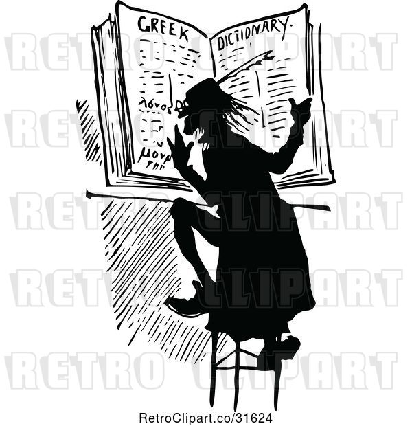 Vector Clip Art of Retro Guy Reading a Dictionary