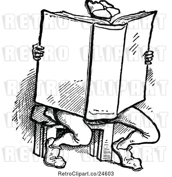Vector Clip Art of Retro Guy Reading a Large Book