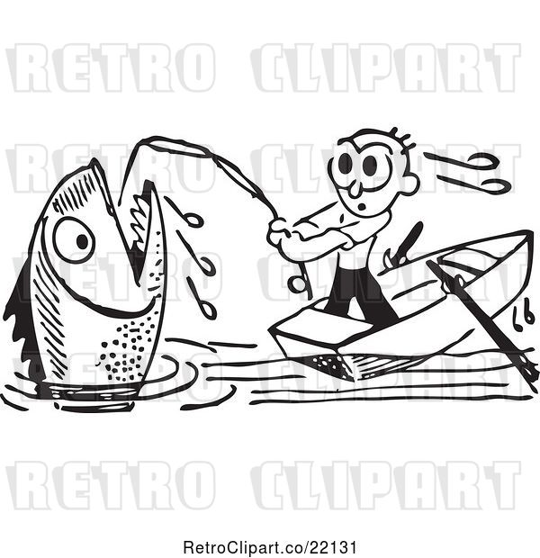 Vector Clip Art of Retro Guy Reeling in a Giant Fish