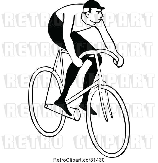 Vector Clip Art of Retro Guy Riding a Bicycle 2