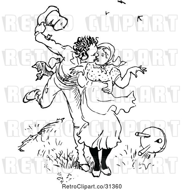 Vector Clip Art of Retro Guy Scaring a Lady and Kissing Her