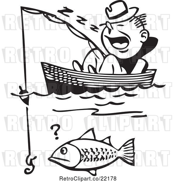 Vector Clip Art of Retro Guy Sleeping in a Boat and Catching a Fish