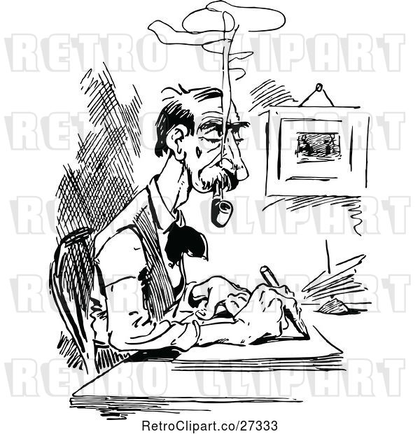 Vector Clip Art of Retro Guy Smoking a Pipe and Writing at a Desk