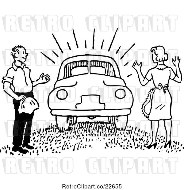 Vector Clip Art of Retro Guy Surprising a Lady with a New Car