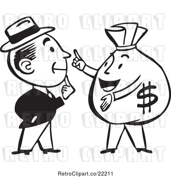 Vector Clip Art of Retro Guy Talking to a Money Bag