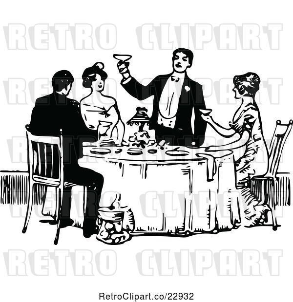 Vector Clip Art of Retro Guy Toasting at a Table