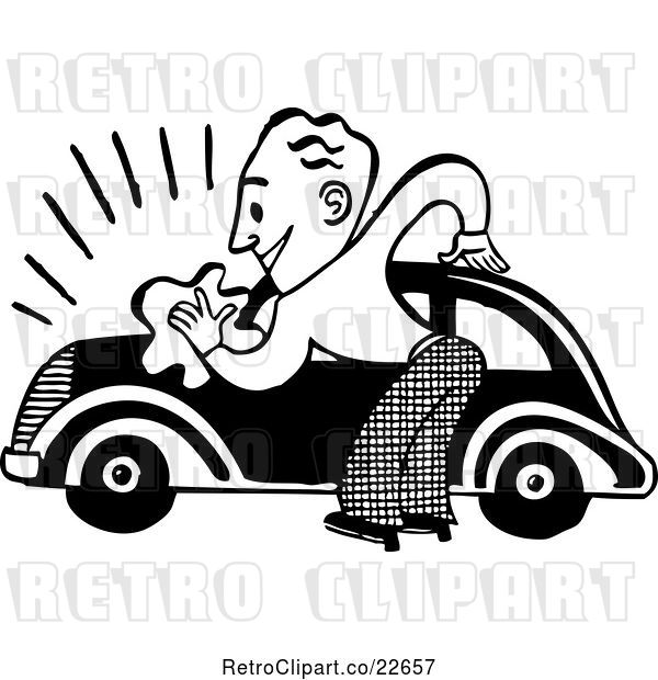 Vector Clip Art of Retro Guy Washing a Car