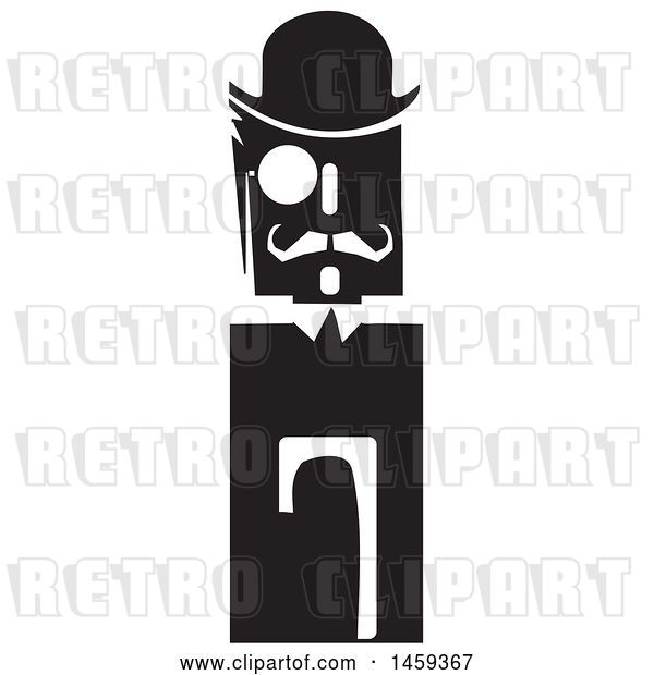Vector Clip Art of Retro Guy with a Hat, Manacle and Cane