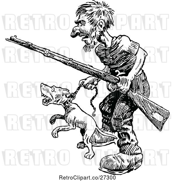 Vector Clip Art of Retro Guy with a Rifle and Angry Dog
