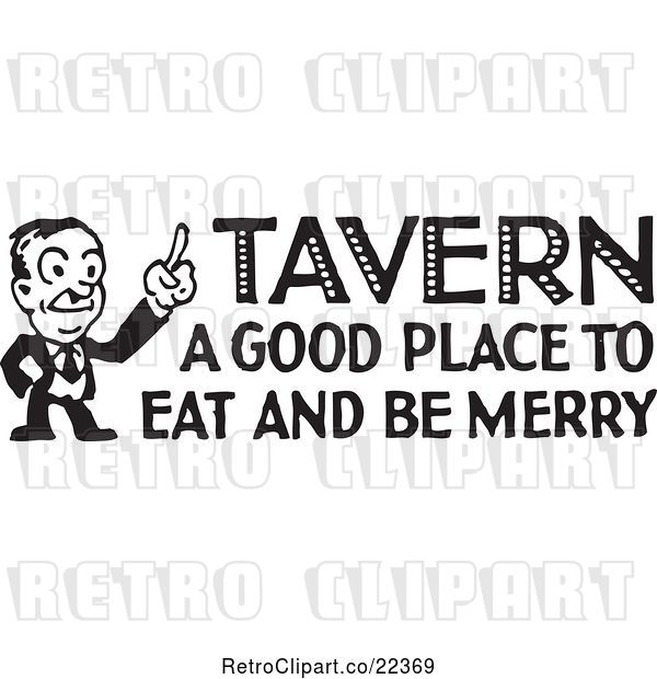 Vector Clip Art of Retro Guy with Tavern a Good Place to Eat and Be Merry Text