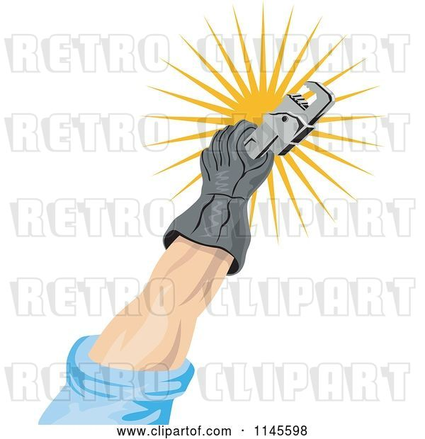 Vector Clip Art of Retro Guy's Hand Holding a Rench over a Sun Burst