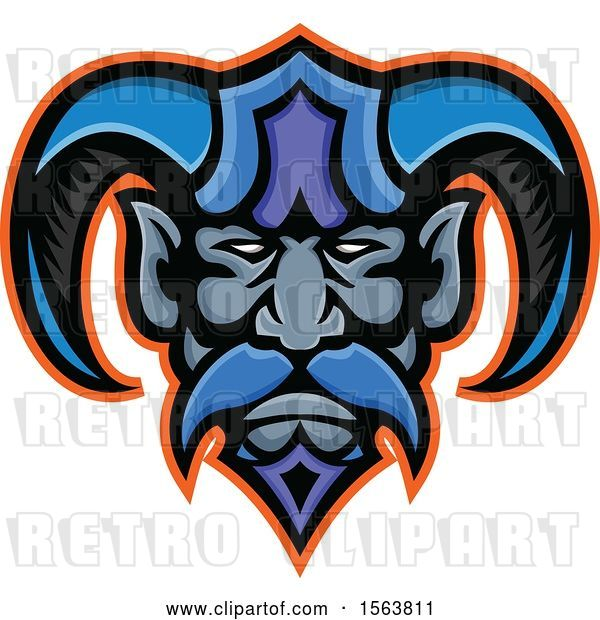 Vector Clip Art of Retro Hades Greek God Mascot Face