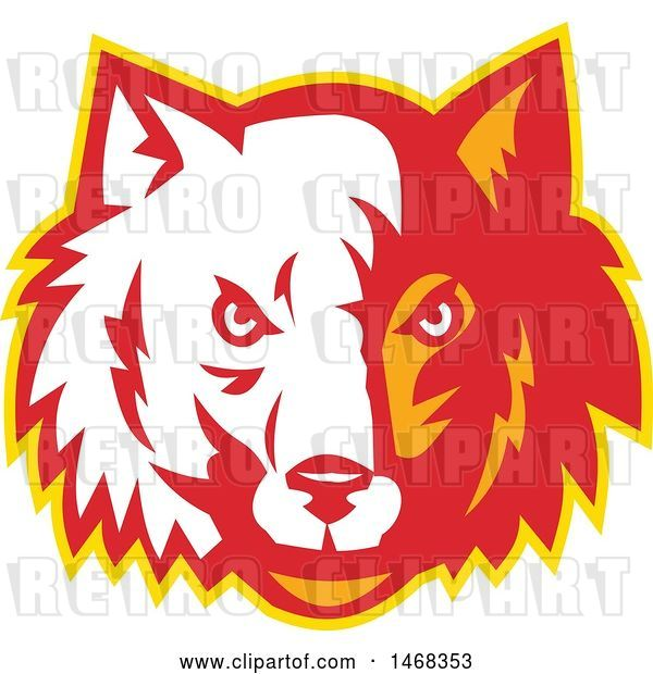 Vector Clip Art of Retro Half White, Half Red and Orange Wolf Face
