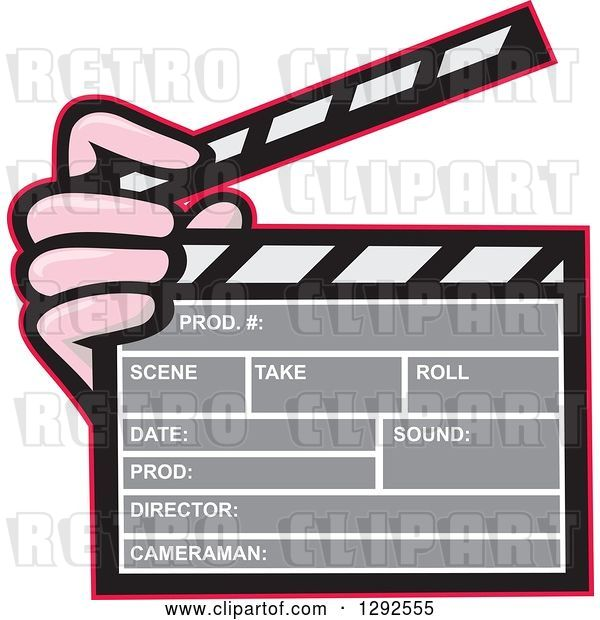 Vector Clip Art of Retro Hand Holding a Clapperboard