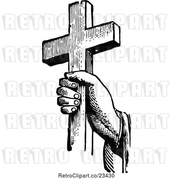 Vector Clip Art of Retro Hand Holding a Cross