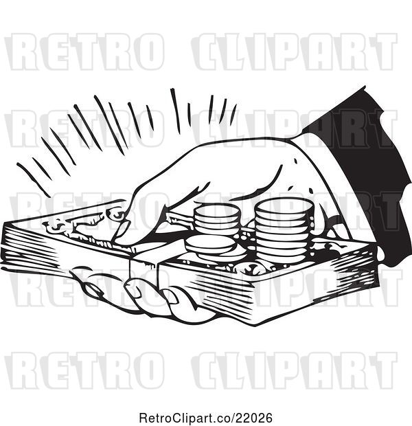 Vector Clip Art of Retro Hand Holding Cash and Coins