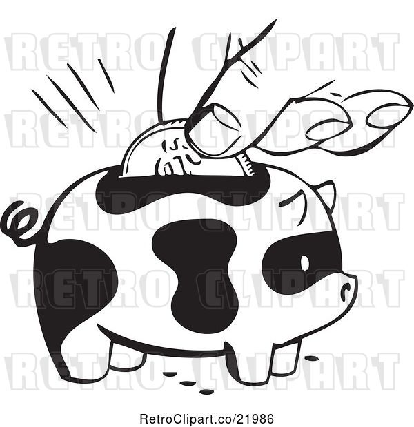 Vector Clip Art of Retro Hand Inserting a Coin into a Spotted Piggy Bank