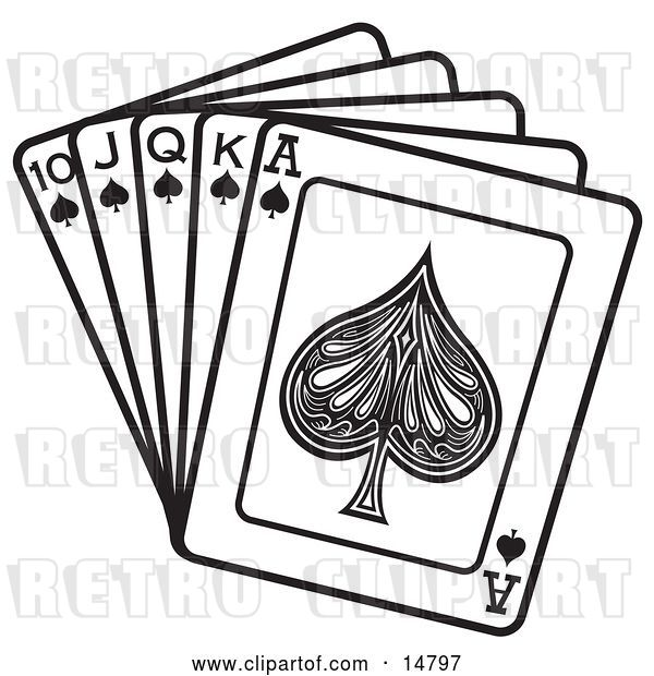 Vector Clip Art of Retro Hand of Cards Showing a 10, Jack, Queen, King and Ace of Spades