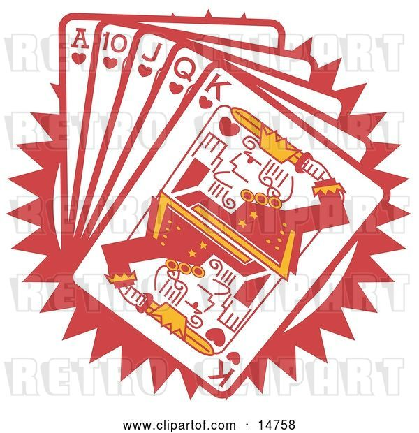Vector Clip Art of Retro Hand of Red Playing Cards Including the Ace of Hearts, 10 of Hearts, Jack of Hearts, Queen of Hearts and King of Hearts