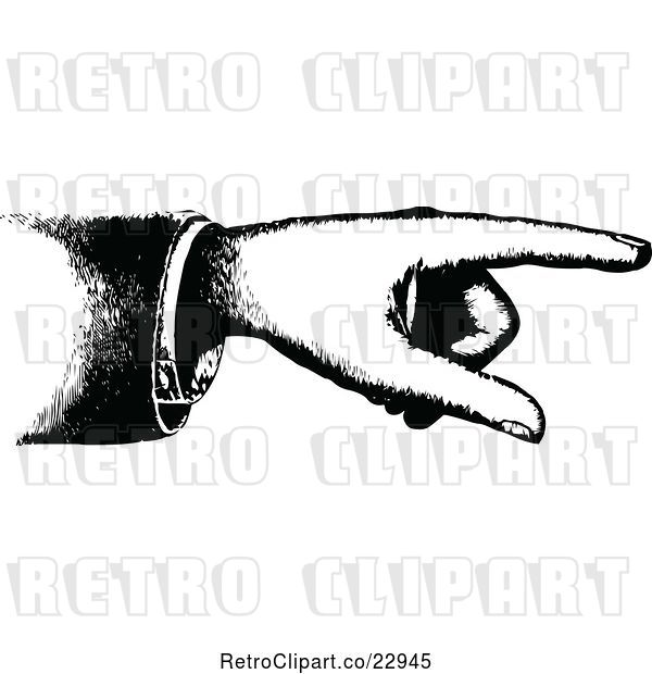 Vector Clip Art of Retro Hand Pointing