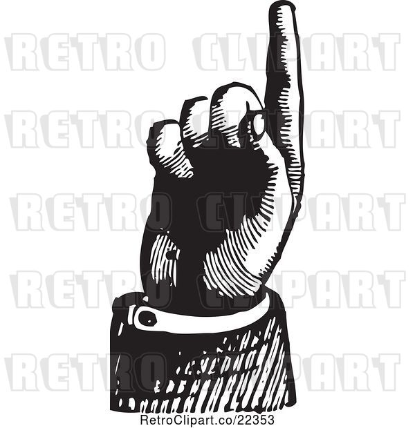 Vector Clip Art of Retro Hand Pointing up