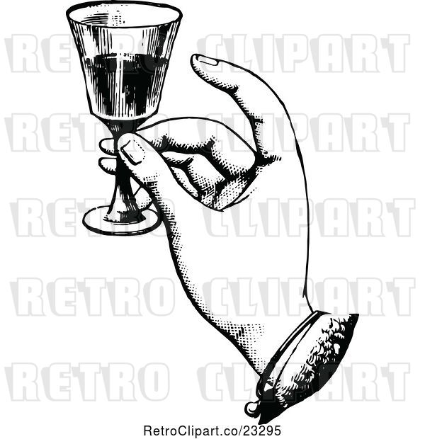 Vector Clip Art of Retro Hand Toasting with Wine