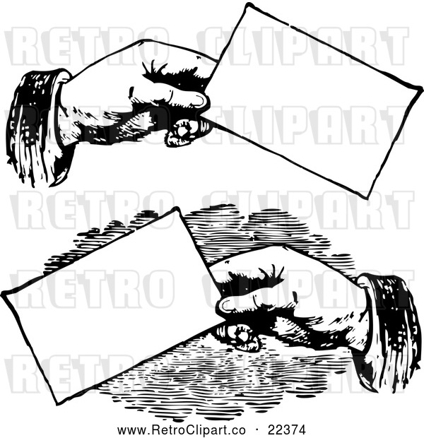 Vector Clip Art of Retro Hands Holding Business Cards