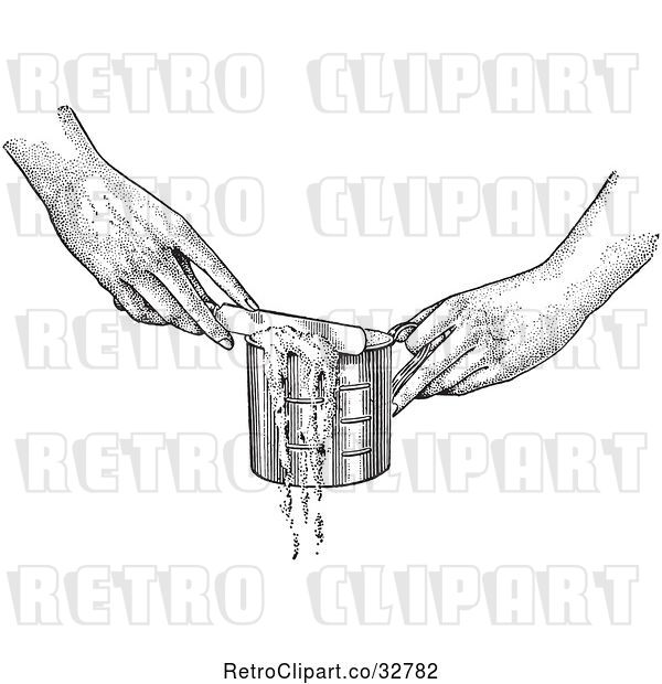 Vector Clip Art of Retro Hands Leveling off a Measuring Cup with a Knife in