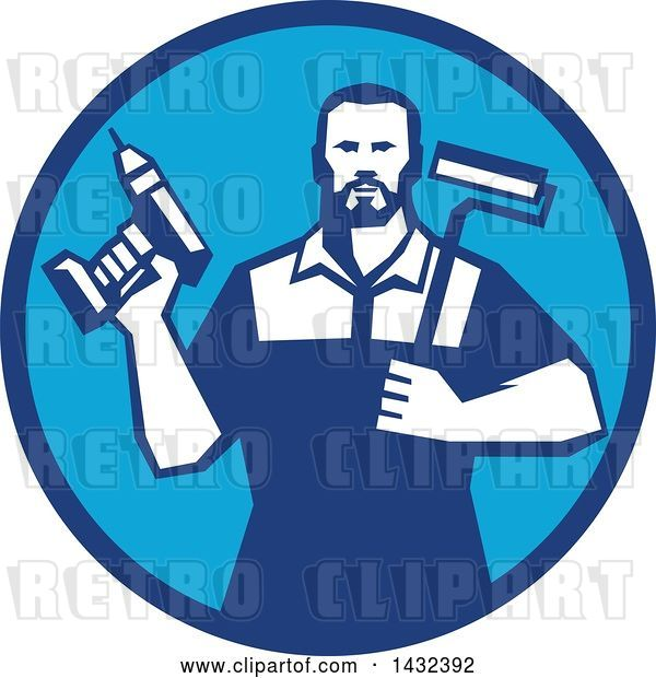 Vector Clip Art of Retro Handy Guy Holding a Paint Roller and a Cordless Drill in a Blue Circle