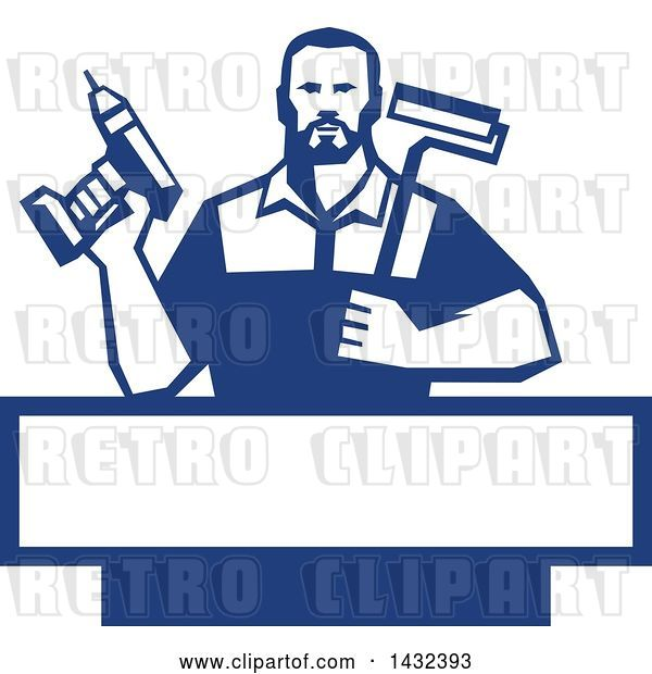 Vector Clip Art of Retro Handy Guy Holding a Paint Roller and a Cordless Drill over a Blue and White Frame