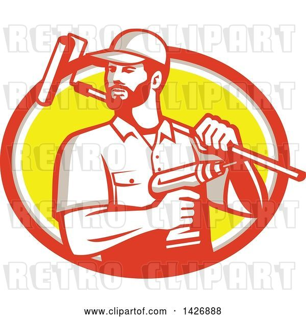 Vector Clip Art of Retro Handyman Holding a Paint Roller over His Shoulder and a Cordless Drill in Hand, Emerging from an Orange Gray White and Yellow Oval