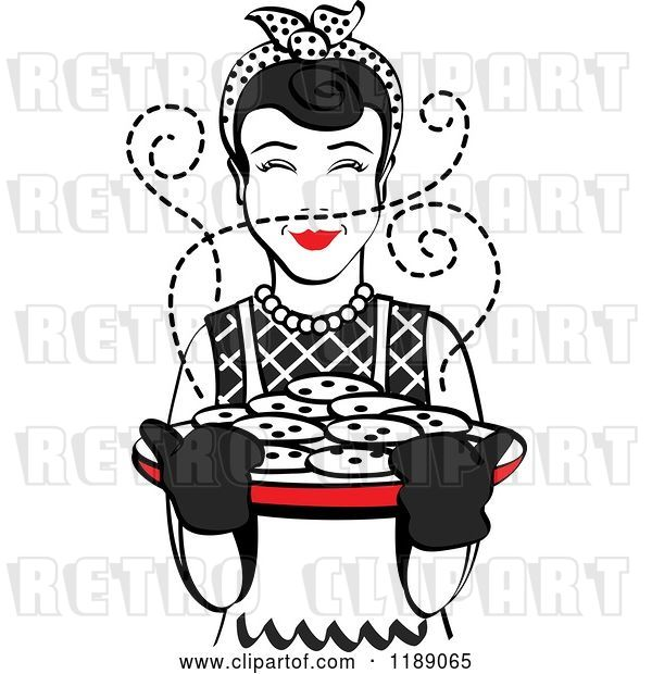 Vector Clip Art of Retro Happy Black Haired Housewife Holding Freshly Baked Cookies