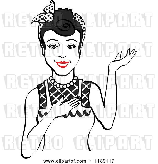 Vector Clip Art of Retro Happy Black Haired Housewife, Waitress or Maid Lady Wearing an Apron and Presenting