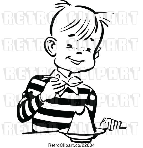 Vector Clip Art of Retro Happy Boy Eating Dessert