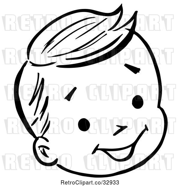 Vector Clip Art of Retro Happy Boy Face in