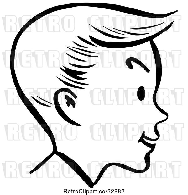 Vector Clip Art of Retro Happy Boy Face in Profile, in