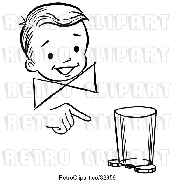 Vector Clip Art of Retro Happy Boy Performing a Moving Coin and Cup Magic Trick