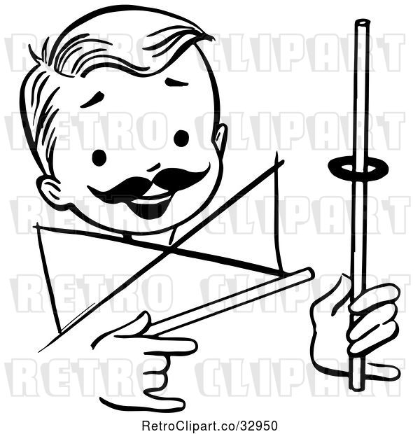 Vector Clip Art of Retro Happy Boy Performing a Rising Ring Magic Trick