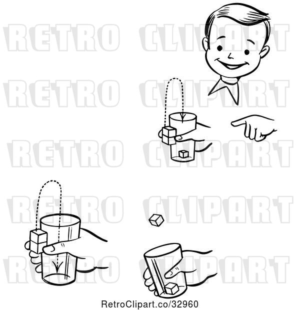 Vector Clip Art of Retro Happy Boy Performing Steps of a Jumping Cubes Magic Trick