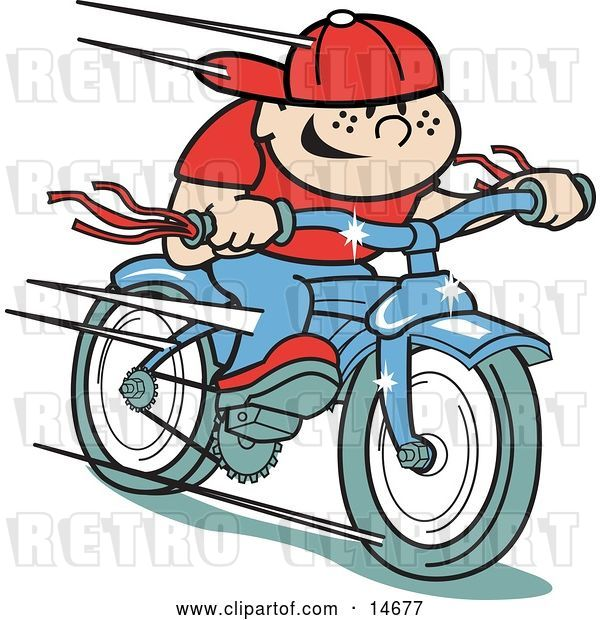 Vector Clip Art of Retro Happy Boy Riding a Brand New Blue Bike Clipart Illustration