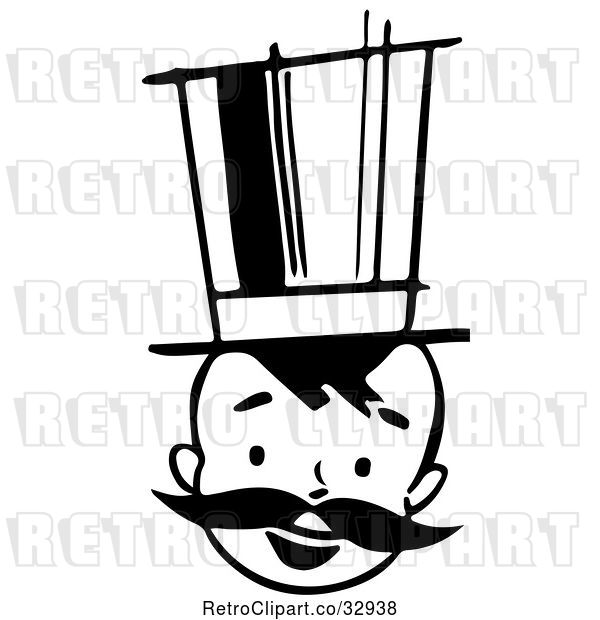 Vector Clip Art of Retro Happy Boy with a Mustache and Top Hat