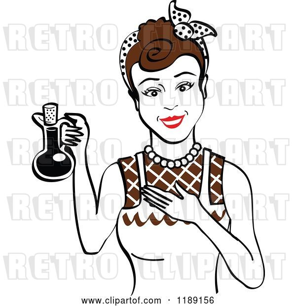 Vector Clip Art of Retro Happy Brunette Lady in an Apron, Holding up a Bottle of Cooking Oil
