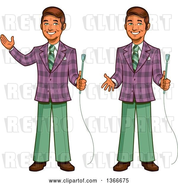 Vector Clip Art of Retro Happy Cartoon Male Game Show Host Shown Holding a Microphone, Gesturing and Presenting